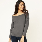 Next Level Ladie's French Terry Raw-Edge 3/4-Sleeve Raglan Tee