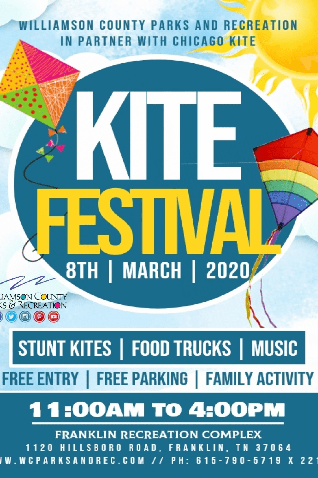 Franklin Recreation Complex Kite Festival March 8th 2020 Franklin Tennessee