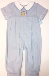 Boy Blue Cordury Romper with Hand Embroidered Manger by Anavini