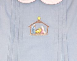 Girl Blue Cordury Dress with Hand Embroidered Manger by Anavini