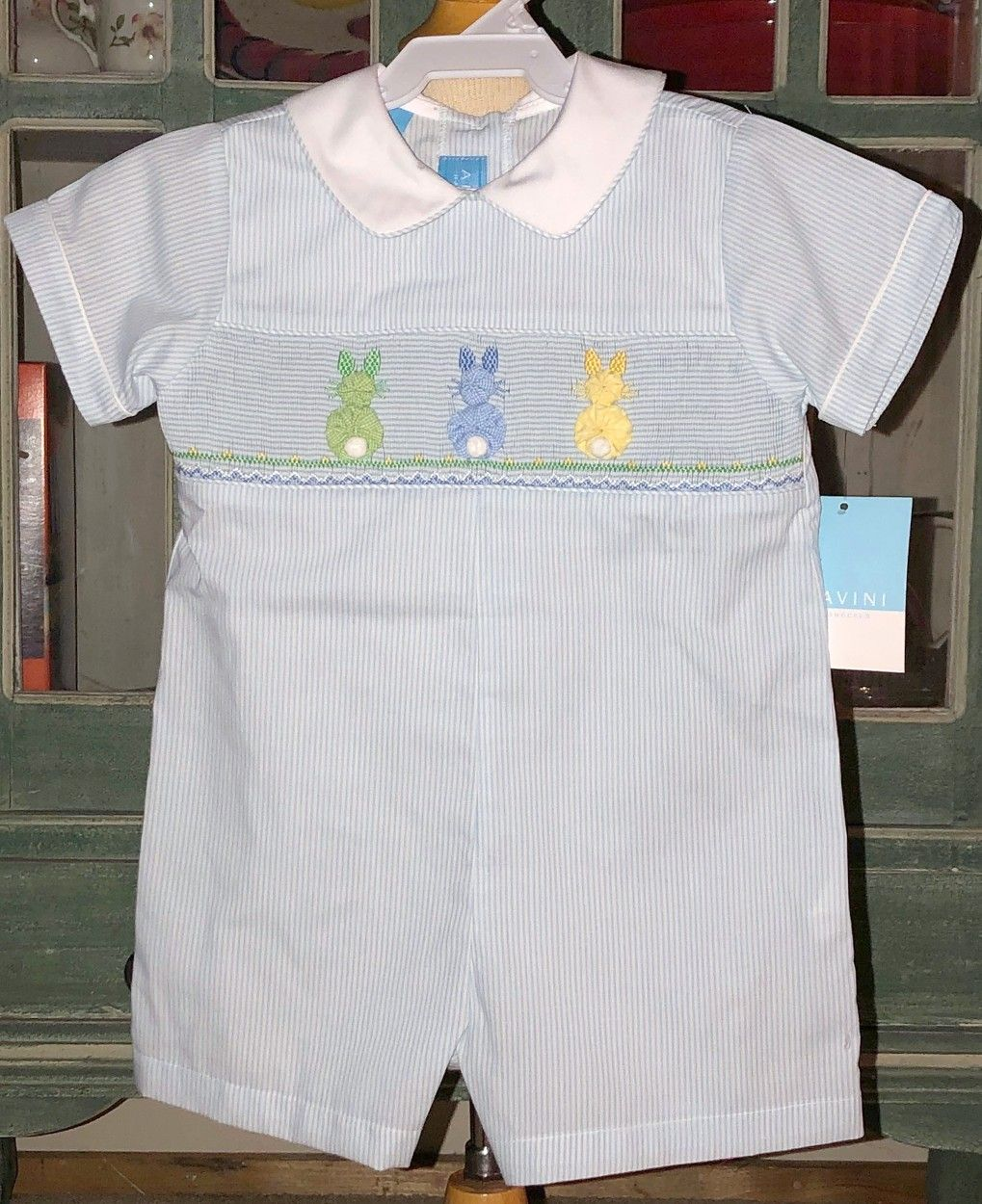 23d4f0303 Anavini Smocked John John Romper with Ribbon Embroidered Bunnies