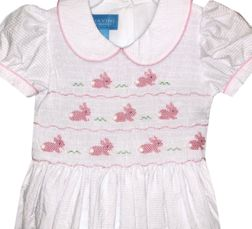 Anavini Smocked Pink Bunny Rabbits White Seersucker Tie Back Dress