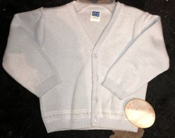 Baby boy monogrammable blue cardigan sweater by Will'Beth