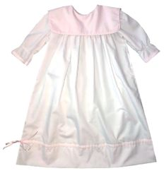 Baby Girl's Pink Monogrammable Square Collar Gown with Satin Ribbon Hem