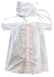 Lullaby Set Infant Girl's White Day Gown with Pink Ruffles and Matching Bonnet