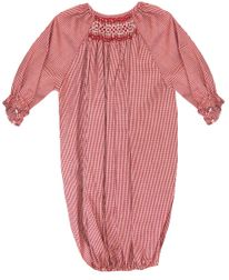 Smocked Red Gingham Baby Gown | Christmas | Children's Cottage