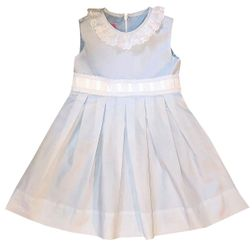 Claire & Charlie Light Blue Batiste Heirloom Dress with Beading, Ribbon and Eyelet