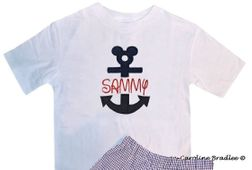 Disney Cruise Anchor Mickey Monogrammed Shirt or Shorts Outfit