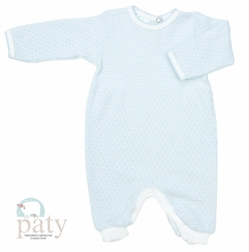 Boy's Blue And White Layette Baby Infant Romper By Paty, Inc.