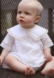 Boy's Heirloom Portrait Boy's Bubble Christening Bubble with French Lace Trimmed Pointed Peter Pan Collar Lane