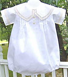 Boy's Heirloom Easter Portrait Boy's Bubble Christening Bubble with French Lace Trimmed Pointed Peter Pan Collar Lane