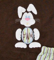 Boy's Monogrammed Easter Bunny and Egg Shirt and Trousers Outfit