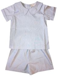 Delaney Boy's Blue gingham Peter Pan Collar Blouse and Shorts