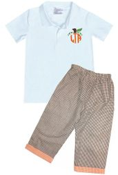 Boy's Polo Monogram Pumpkin Frame | Personalized Thanksgiving Outfit