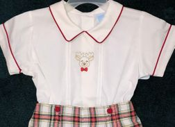 Will'Beth Christmas Plaid Overall Shorts | Embroidered Reindeer | Children's Cottage