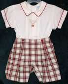 Will'Beth Smocked Christmas Plaid Boy's Outfit