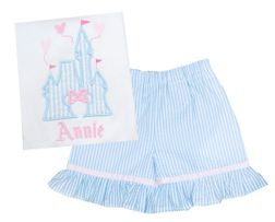 Cinderella Castle Shirt or Outfit with Monogram in Blue Seersucker