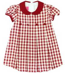 Red Wine Pleated Gingham Dress for Christmas and Holidays