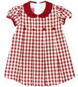 Claire & Charlie Red Wine Pleated Gingham Dress for Christmas and Holidays