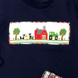 Boy Smocked Farm Harvest Tractor Pants Set | Thanksgiving Outfit