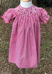 Delaney Smocked Christmas Dress in Red Gingham with Red Bullions