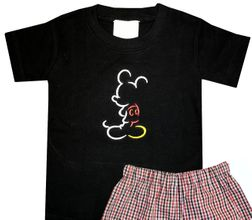 Disney Boy's Mickey Mouse Outline Shirt and Shorts Outfit