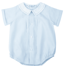 Feltman Brothers Baby Boy's Blue Pleated Embroidered Romper Bubble