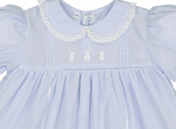 Feltman Brothers Girl's Embroidered Bunnies Dress in Blue or Pink
