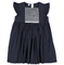 Feltman Brothers Girl's Smocked Dress in Navy with Flutter Sleeves