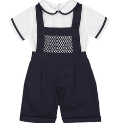 Feltman Brothers Boy's Light Blue or Navy Bib Smocked Romper