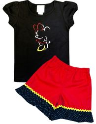 Girl's Disney Minnie Mouse Sketch Outline Shirt Shorts or Capris Outfit