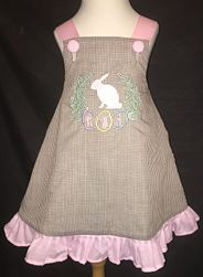 Girl's Easter Monogrammed Bunny Rabbit and Eggs Dress