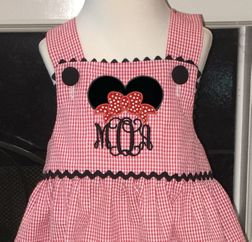 Girl's Minnie Mouse Personalized Monogrammed Red Gingham Seersucker Dress, Top and Shorts or Top and Capris Outfit