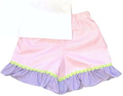 Girl's Monogrammed Bunny Rabbit Frame Shirt and Shorts or Capris