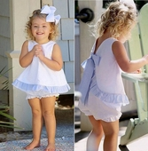 Girl's White with Light Blue Seersucker Tie Back Bloomers or Shorts Set
