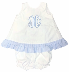 Girl's White with Seersucker or Gingham Tie Back Bloomers or Shorts Set