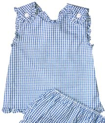 Petit Ami Girl's Blue Check Seersucker Cross Back Top and Bloomers