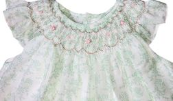 Petit Ami Baby Girl's Green and White Floral Voile Overlay Dress