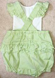 Petit Ami Girl's Lime Green Cross Back Bubble with Ruffles