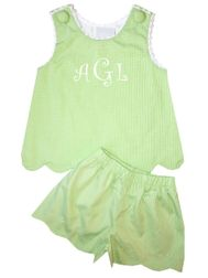 Delaney Girl's Green Gingham Scallop Shorts Set