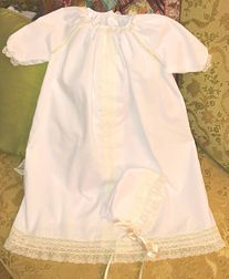 Heirloom Baby Day Gown Christening Baptism Gown in Batiste with Frence Lace and Optional Matching Bonnet