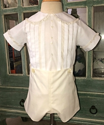 Heirloom Boys Ring Bearer Outft, Christening Outfit Portrait Outfit in Batiste with French Lace and Diamond Front Buttons