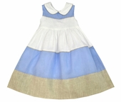 Jack & Teddy Blue and Khaki Tie Back Dress for Easter and Special Occasions