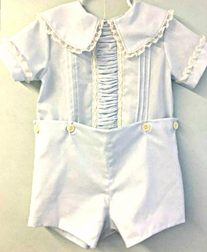 Heirloom Button On or Blouse over Shorts with Peter Pan Collar and Vertical Ruching By Pure Elegance