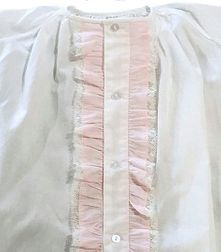 Peppermint Pony Heirloom Infant Girl's White Day Gown with Pink Ruffles and Matching Bonnet