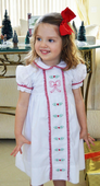 Maria Elena~Little Threads Christmas Dress with Shadow Embroidered Bow and Holly Berries