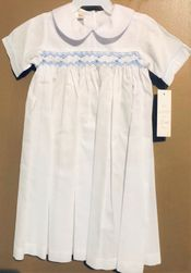 Baby Boy's Smocked White Day Gown With Blue Gingham Piping By Maria Elena.