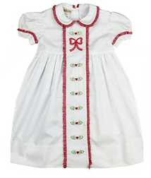Marco & Lizzy/Maria Elena Christmas Dress in white with embroidered hollies and Bow.