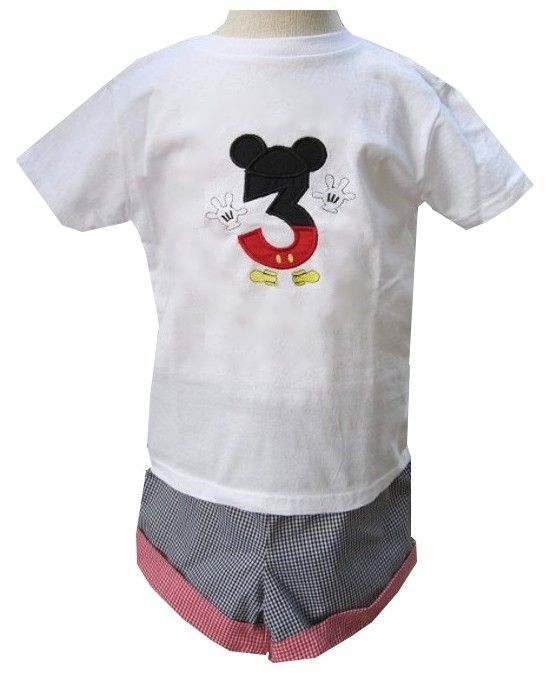 Mickey Mouse Birthday Number 1st Shirt Shorts Pants Outfit