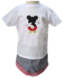 Mickey Mouse Birthday Number, 1st Birthday Shirt Shorts Pants Outfit.
